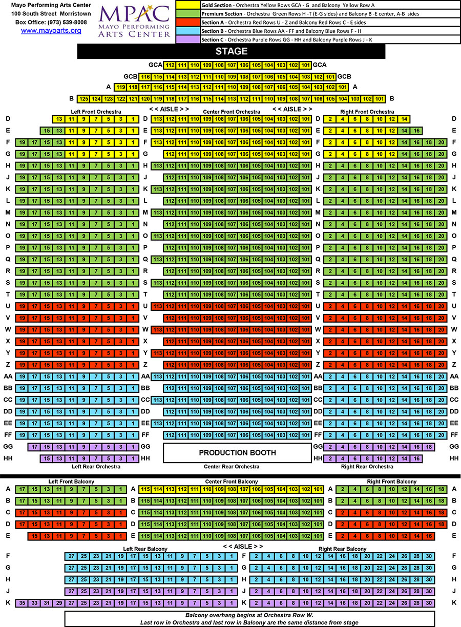 Seating chart mayo performing arts center
