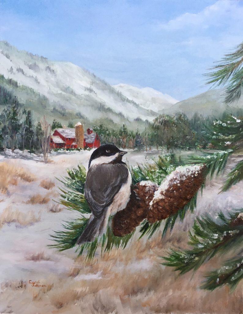 Chickadee on Winter Farm - by Carol Johnson